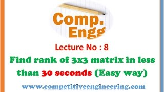 Easy method to find the rank of 3x3 matrix -Find within 30 Seconds,GATE IES Video lectures