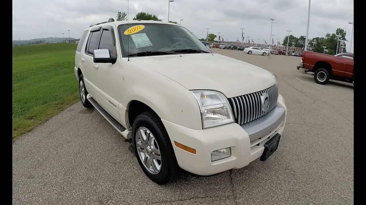 2007 mercury mountaineer premier white navigation and sunroof 17529a