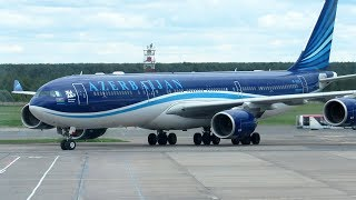 Azerbaijan Airlines flight from Moscow (DME) to Baku (GYD) on Airbus A340-500.