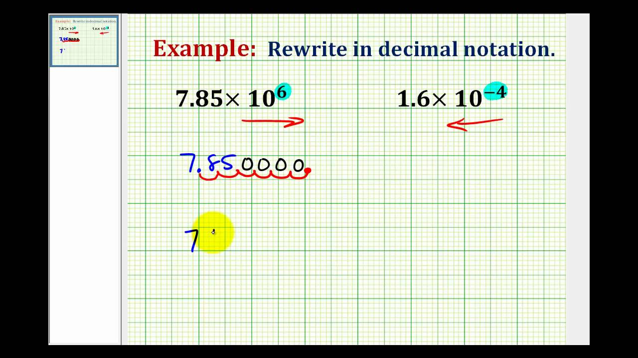 Examples Writing A Number In Decimal Notation When Given In