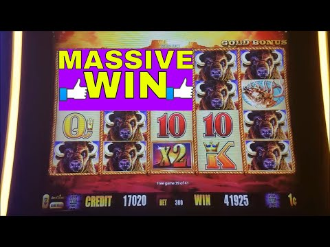 🌟SUPER BIG WIN🌟 Buffalo Gold Slot Machine Bonus MASSIVE WIN !!! Huge Win Buffalo Line Hit