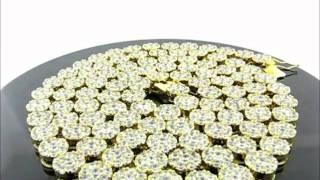 "33"" 14k Gold Finish Bubble Cluster CZ Flower Chain(CHCZ01-0838G) Thumbnail"