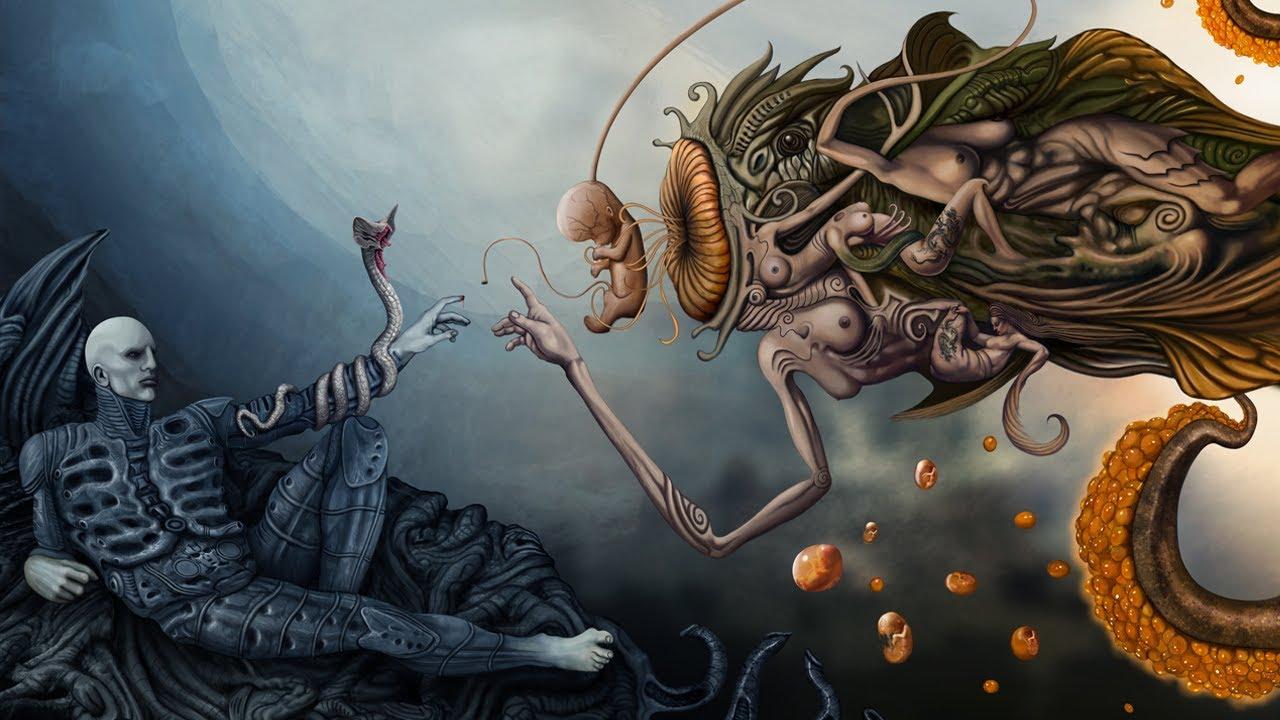 Обои скелет, чужой, удивляется, череп, живописи, земной. Фантастика foto 11