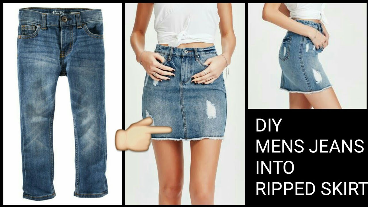 DIY Convert/Recycle Old Jeans Into skirt Reuse old jeans ...