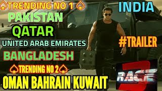 RACE 3 TRAILER | TRENDING NO 1 IN PAKISTAN | QATAR | BANGLADESH | UAE | INDIA | NO 2 IN OMAN BAHRAIN
