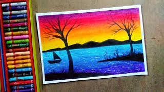 Romantic landscape sunset with trees drawing step by step    oil pastel colour painting