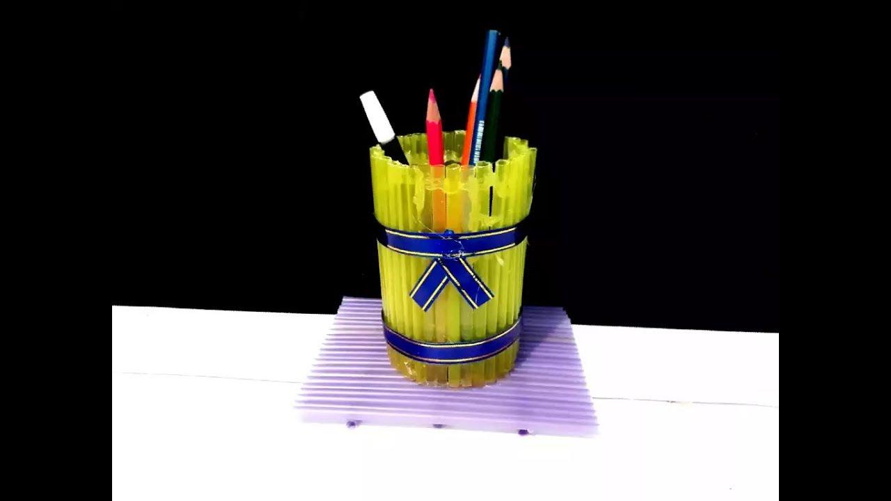 Kerajinan Tangan Dari Sedotan Tempat Pensil