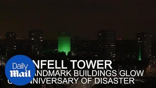 Grenfell Tower and London landmarks illuminated on anniversary