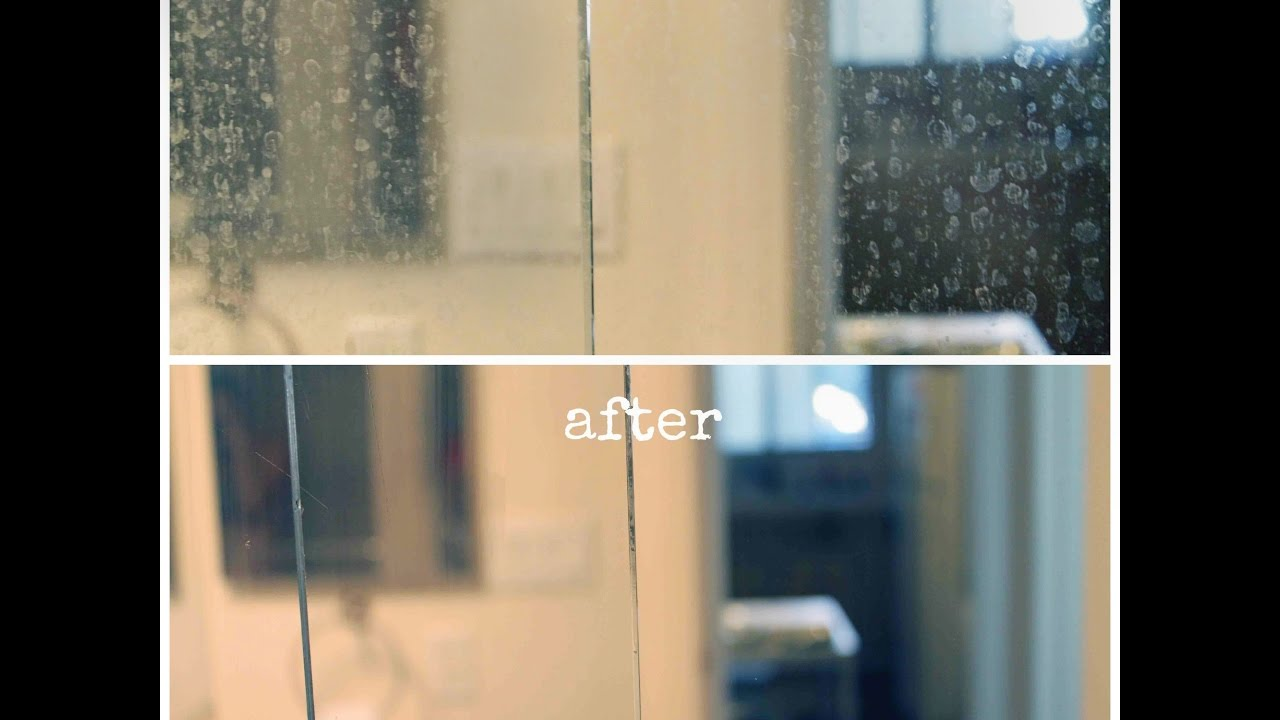 How to remove hard water marks from glass shower doors - YouTube