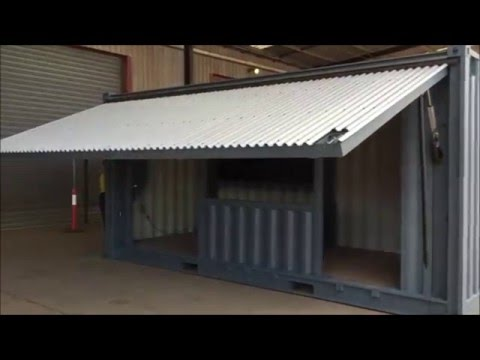 Container restaurant with banquet seating and toilet - Shipping container public bathroom ...