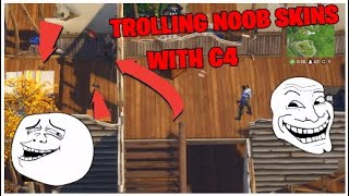 I TROLLED A NOOB SKIN WITH C4 + TRYING REPLAY MODE OUT!!! Fortnite Battle Royale Funny Moments Ep 6