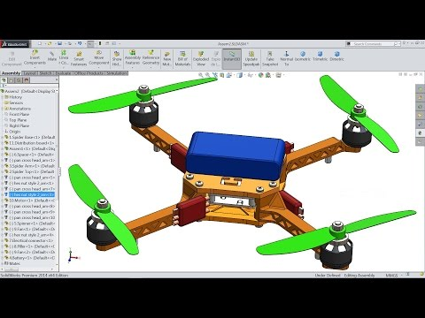 Solidworks tutorial | sketch Quadcopter (Drone) in Solidworks
