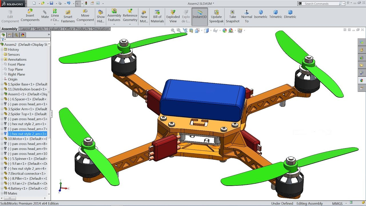 Solidworks tutorial sketch quadcopter drone in for 3d drawing online no download