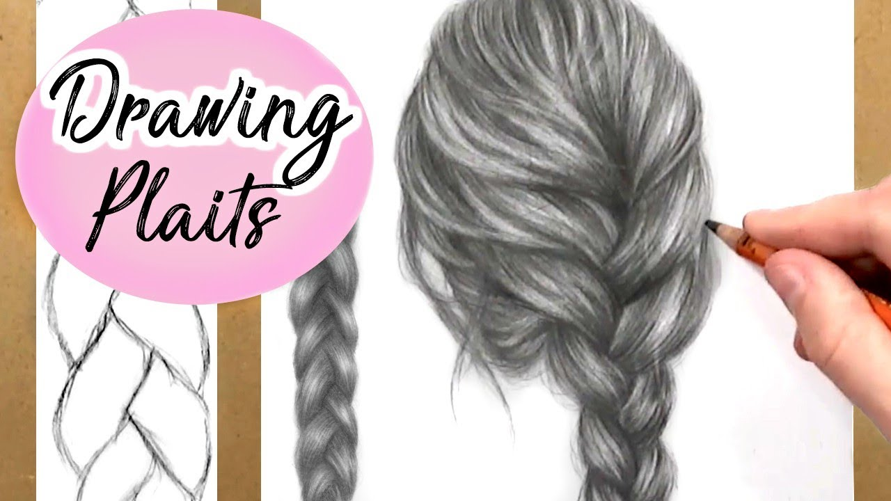 how to draw a plait braid hair drawing tutorial step by step