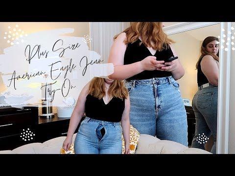American Eagle Plus Size Jean Try On | Mom Jean Journey | SophiaEuphiaVlogs
