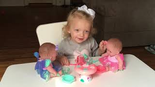 TODDLER UNBOXING FUN! Sophie unboxes my sweet love twins, cute video for kids