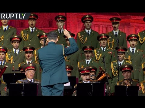 Archive footage of Russian Alexandrov Ensemble performing in Moscow