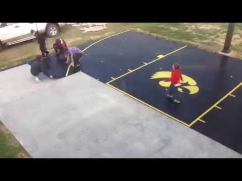 SnapSports®   Time Lapse DIY Install Of Home Backyard Basketball Court    YouTube