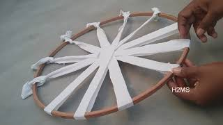 How to make simple Hula Hoop rug/doormat/carpet/ragrug/tablemat weaving,DIY T-shirts recycling ideas