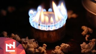 Popcorns on a penny can stove