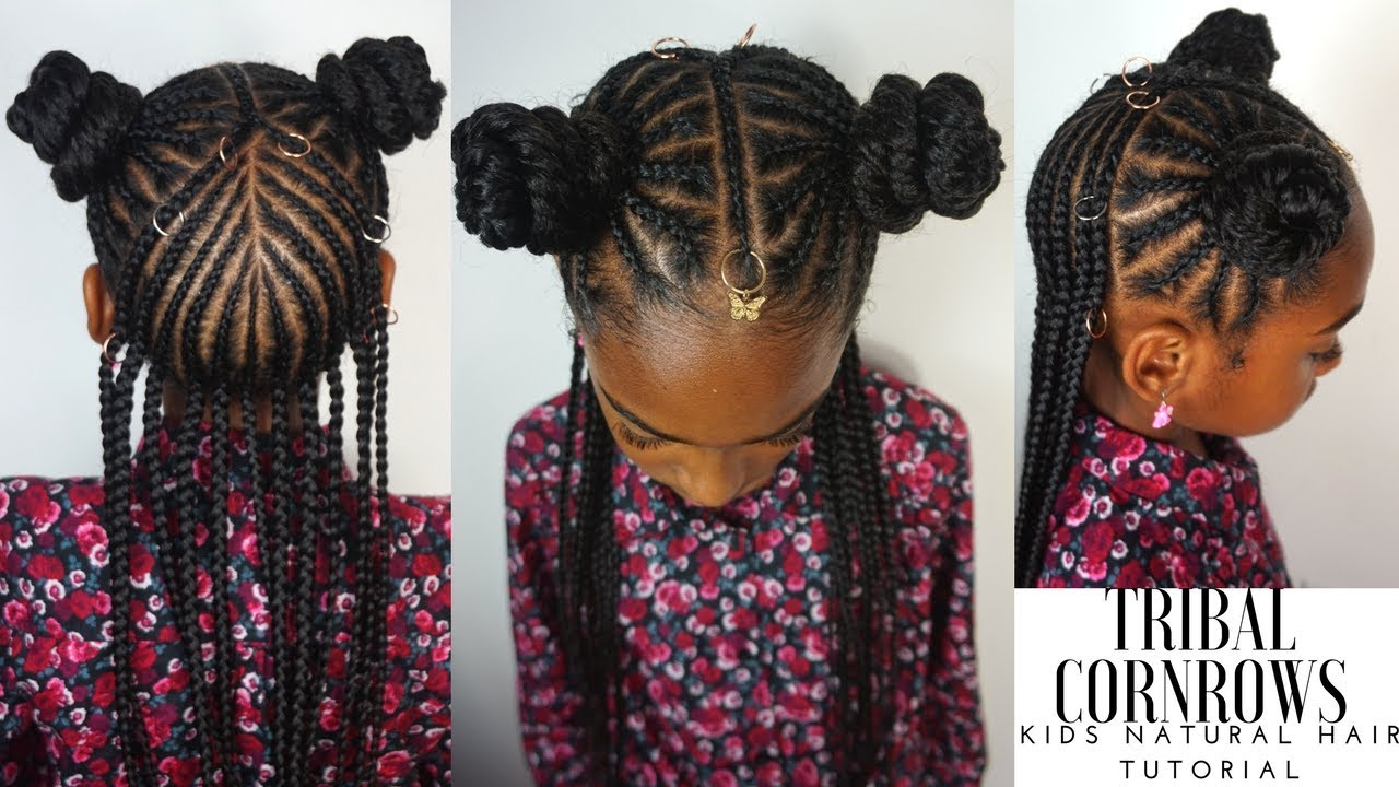 kids natural hairstyles tribal cornrows tutorial youtube