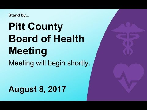 Pitt County Board of Health meeting for 8/8/2017