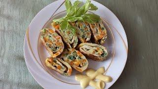 Яичный рулет рецепт яичница с овощами в рулете