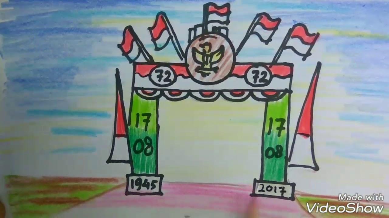 Cara Menggambar Gapura Hari Kemerdekaan 17agustus