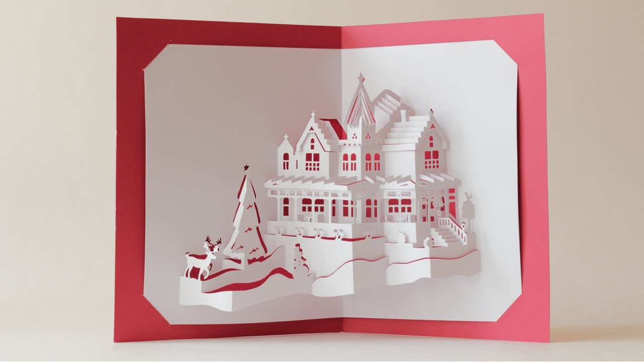 World first dual layers christmas house pop up card youtube for 3d christmas cards to make at home