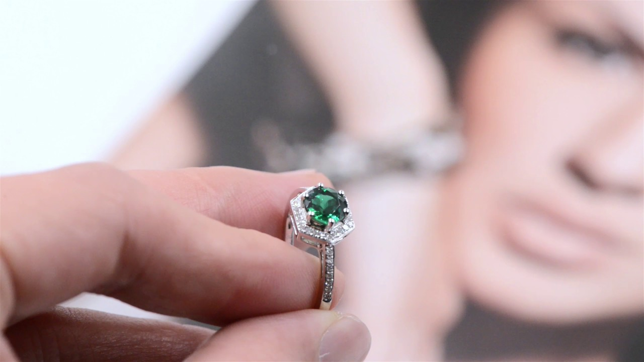 Green emerald engagement ring,birthstone of May,Solid 14k white Halo ...