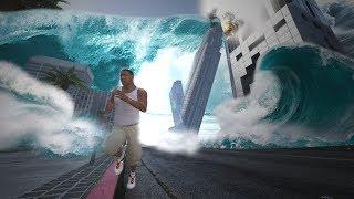 GTA 5 -  FUGINDO do TSUNAMI que invadiu LOS SANTOS!!