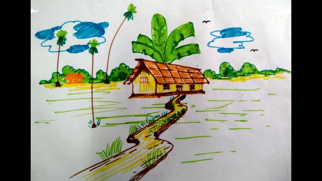 How to draw village scenery with sketch pen for school kids