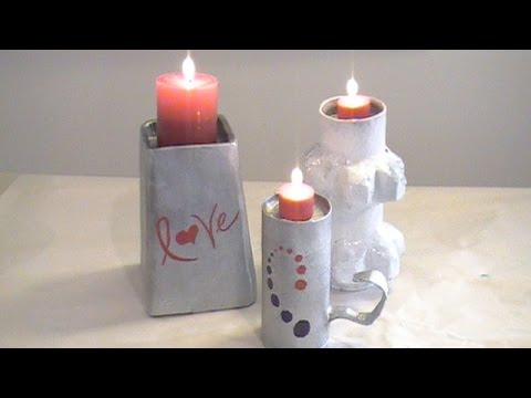 How to make easy paper mache candle holders youtube for Cardboard candle holders