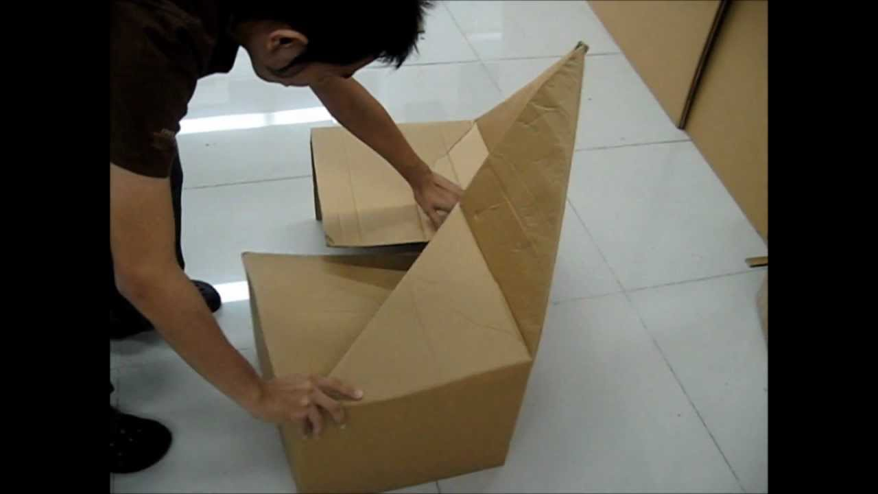 FLUGEL Folding cardboard chairwmv  YouTube