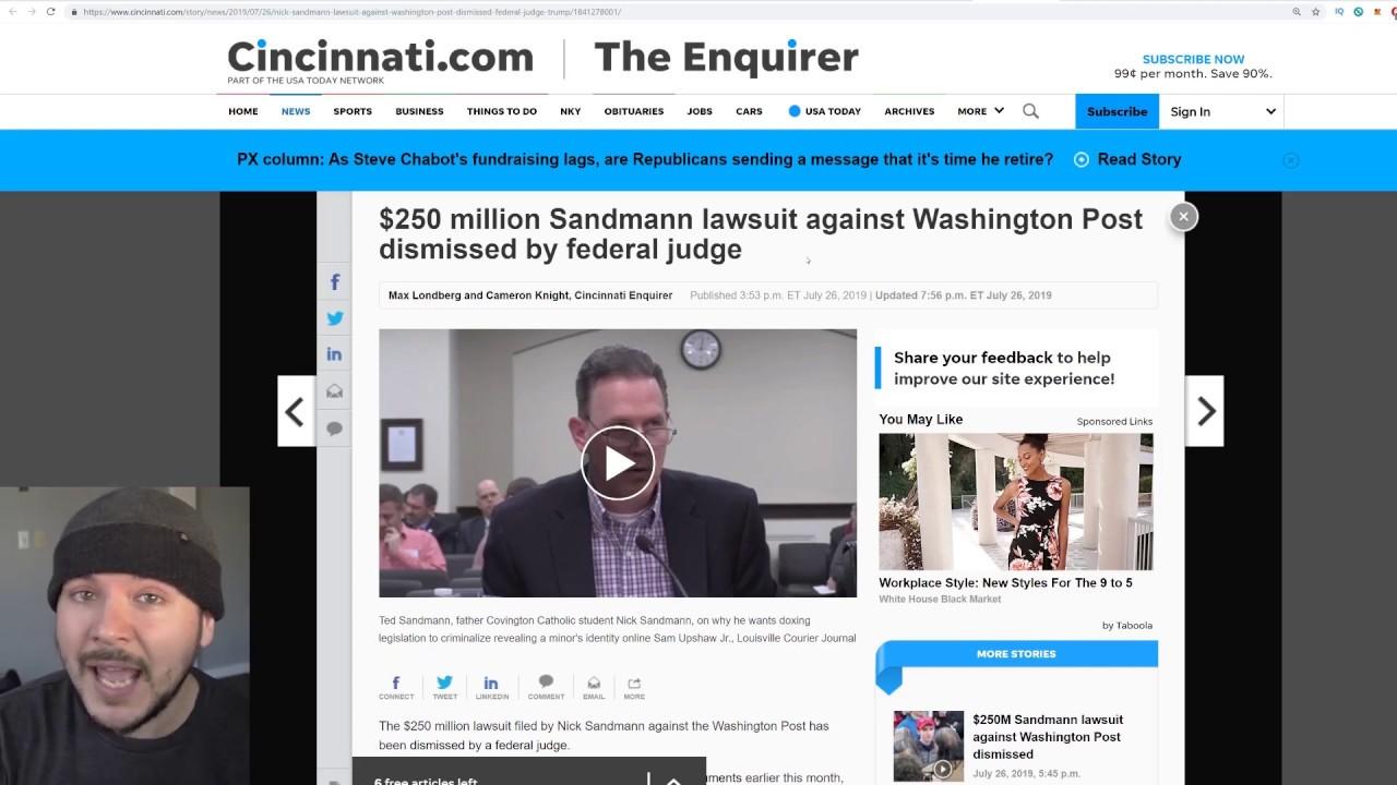 Covington Student Nicholas Sandman Has LOST His Libel Case Against The Washington Post