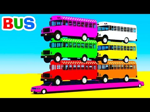 Thumbnail: Learn Colors & Bus on Long Cars - Color for Kids in Spiderman Cartoon for Children Nursery Rhymes