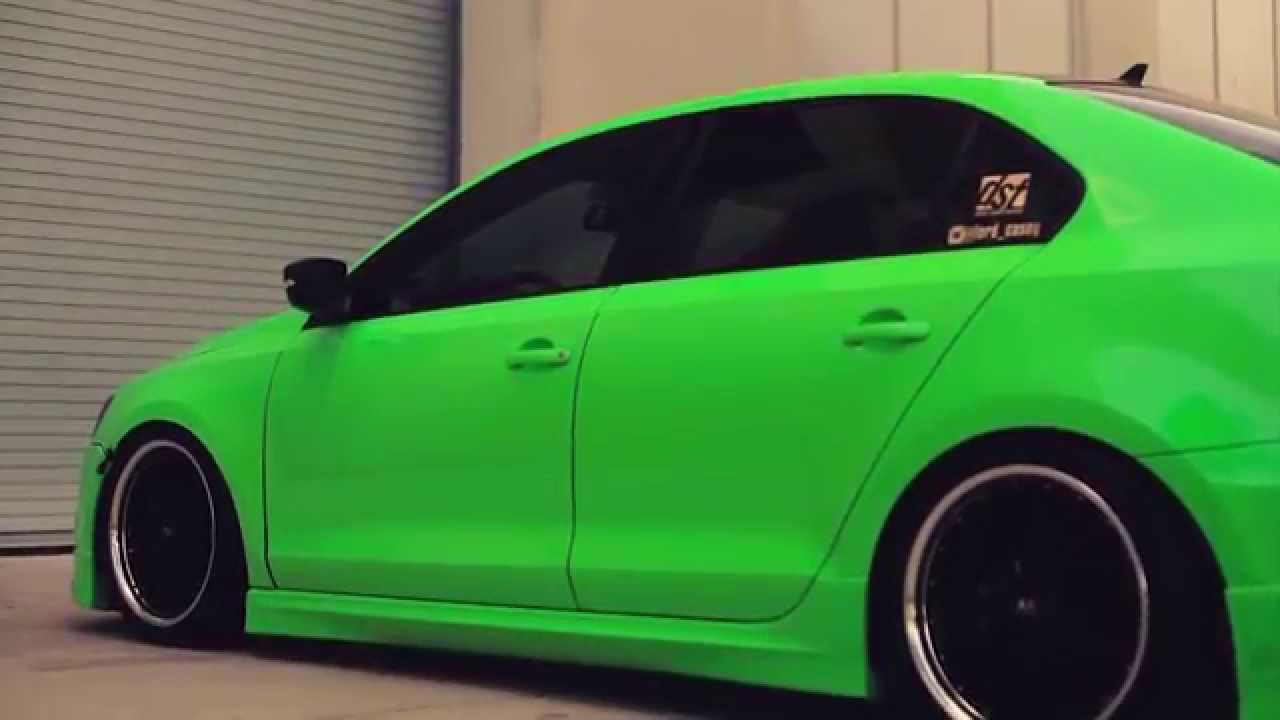 "Volkswagen MKVI Jetta Wrapped in Hexis Gloss Kiwi Green on 18"" MRR GT1 Wheels / Rims - YouTube"