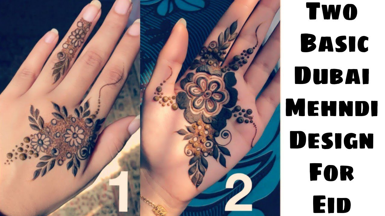 Two Basic Dubai Mehndi Designs For Front And Back Hand