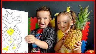 Дети рисуют и изучают цвета и фрукты