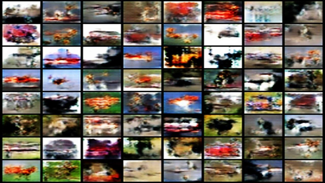 DCGAN cifar-10 training time-lapse