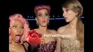 Nicki Minaj in middle of Katy Perry & Taylor Swift #BEEF 🐸☕️ #WhitePeopleNews SWISH SWISH BISH