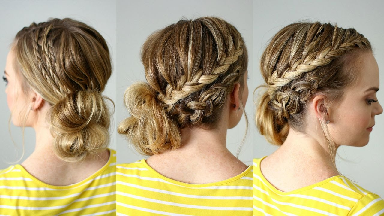 Side Bun Hairstyles floral side bun hairstyle easy holiday updo hairstyles youtube Double Braided Side Bun Missy Sue