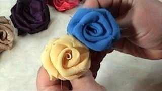 DIY, How to make Fabric Flowers Roses, Satin, Chiffon, Tutorial