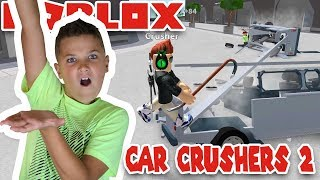 CRUSHING CARS FOR FUN in ROBLOX CAR CRUSHERS 2! | MAKE MONEY BY DESTROYING CARS!