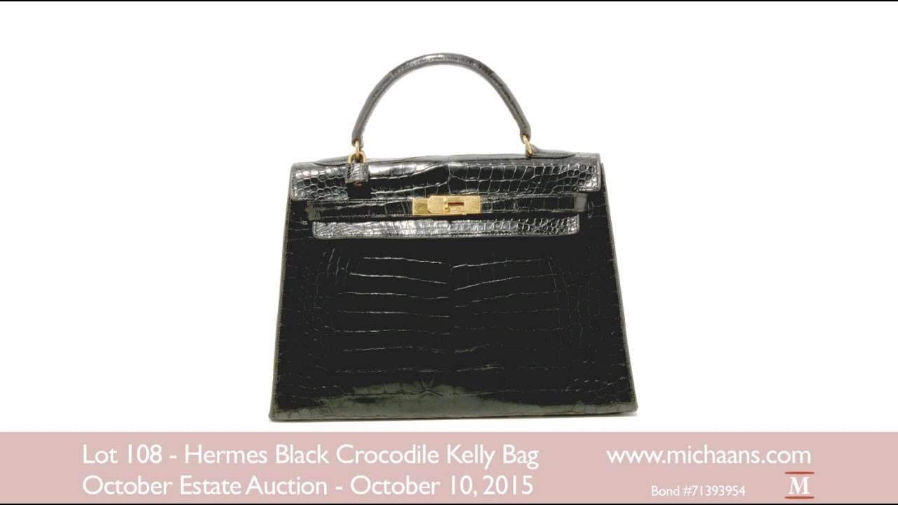 Hermès Black Crocodile Kelly Bag With Original Box