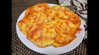 Минутная Вкуснятина на завтрак/Оладьи с колбасой и сыром на кефире/Ленивая Пицца