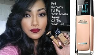 NEW Maybelline FIT ME Matte + Poreless Foundation 322 Warm Honey First Impressions + Full Demo