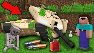 Minecraft NOOB vs PRO: NOOB RESTORED DISASSEMBLED ABANDONED 100 YEAR OLD TANK ! 100% trolling