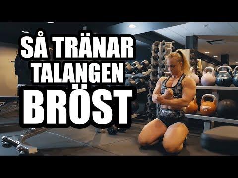 Angelica Enberg tränar bröst på NOCCOgymmet