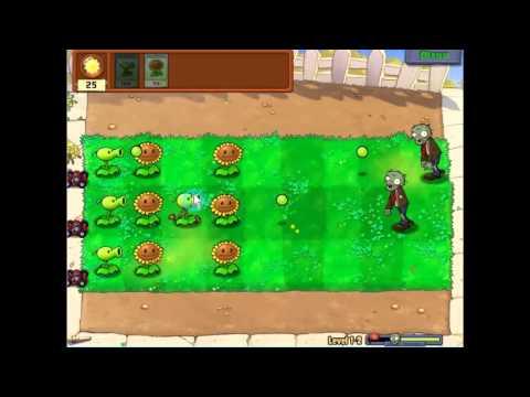 Gameplay-Plants Vs Zombies Level 1-2